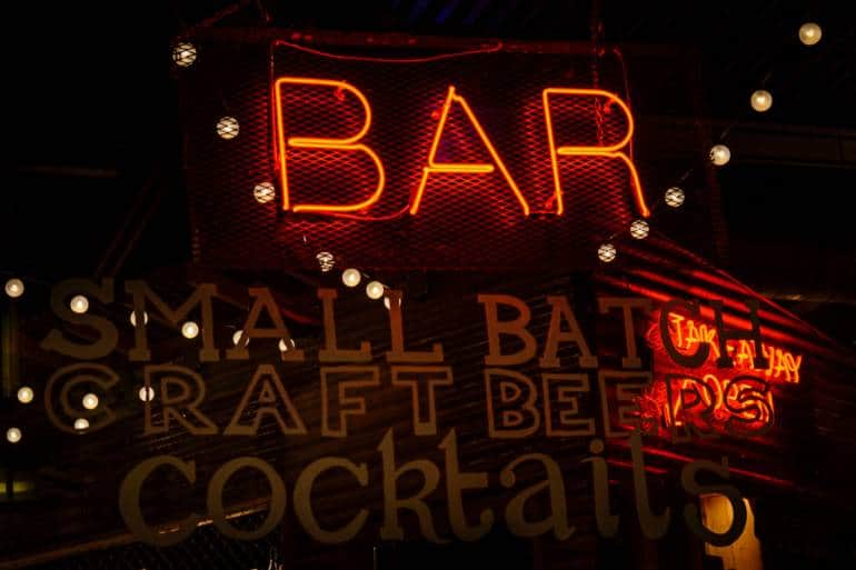 Red neon bar signs